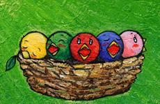イラストレーター 童画 徳治昭 鳥 にわとり|干支シリーズ 酉